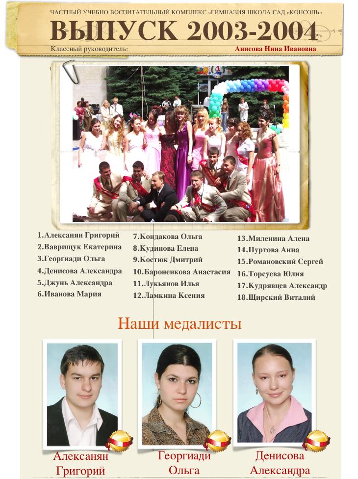 Выпуск 2003-2004 1