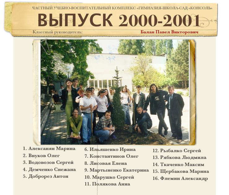 Выпуск 2000-2001 1